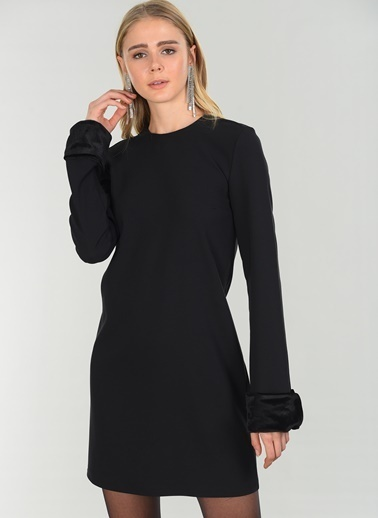 People By Fabrika Uzun Kollu Elbise Siyah